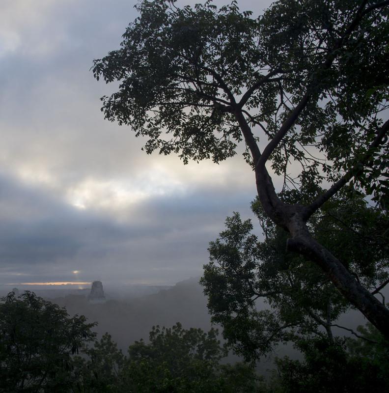 sunbeam through the clouds at Tikal