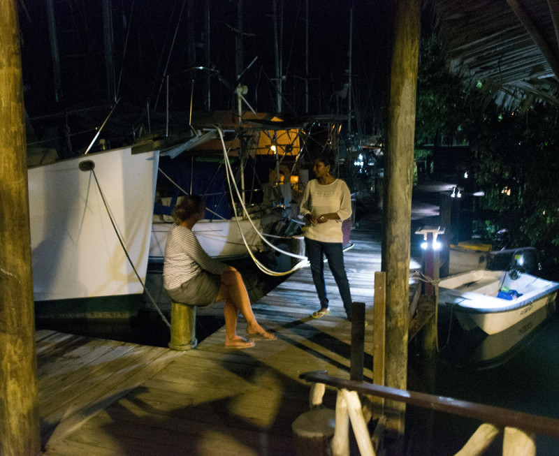Elmari talking to a marina guest