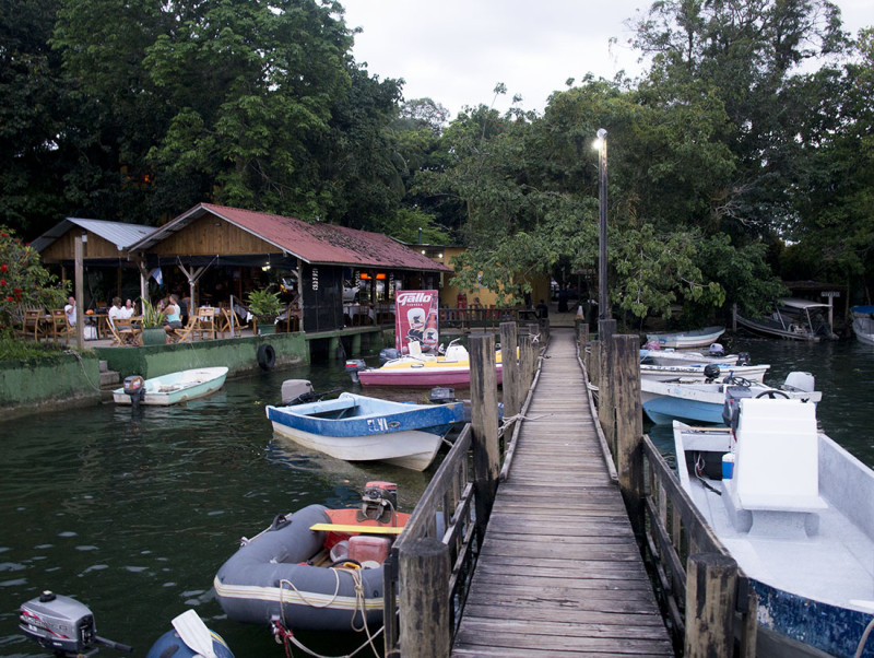 dinghy dock at Bruno's, Rio Dulce, Guatemala