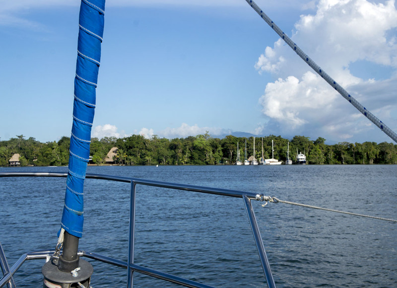 at anchor in Rio Dulce