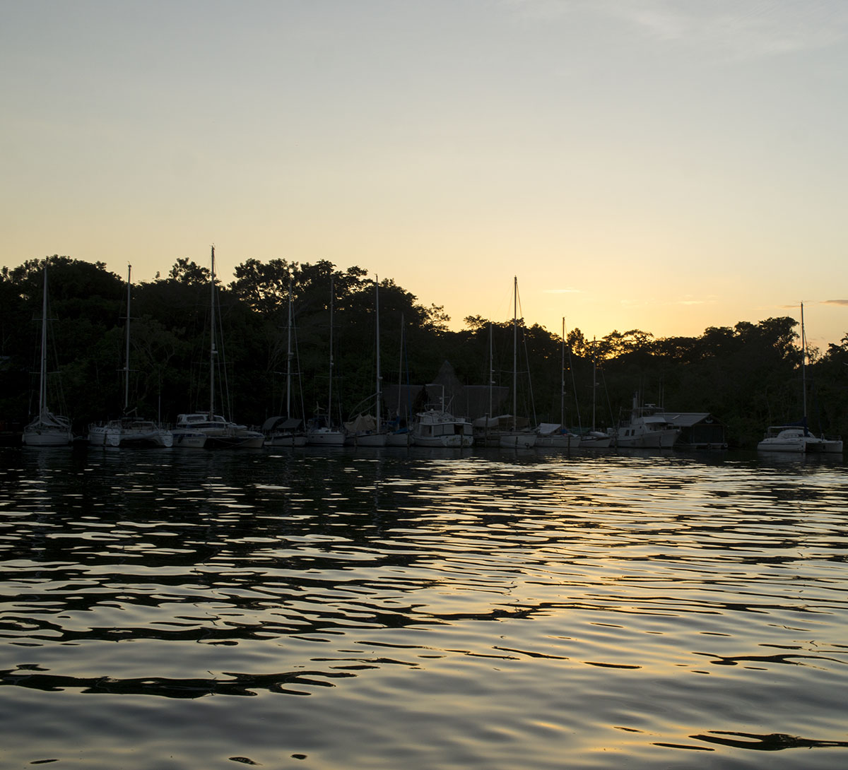 sunset over Tortugal Marina, Rio Dulce Guatemala