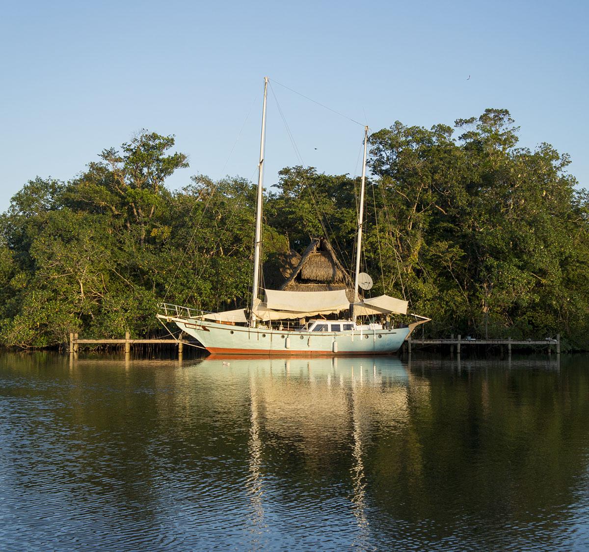 blue boat in Texan Bay