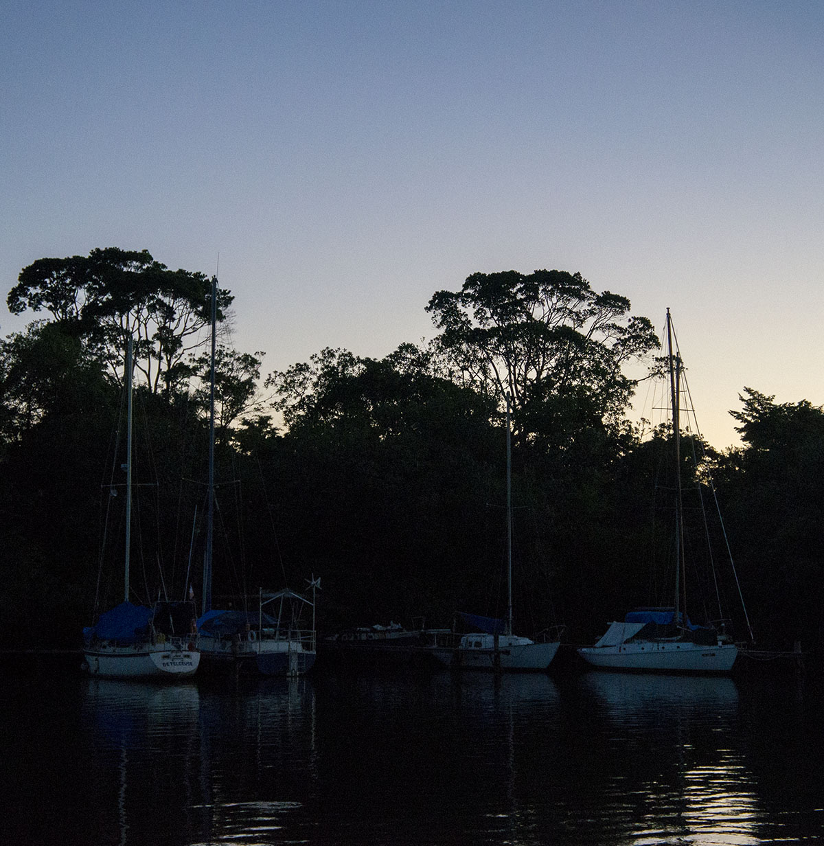 boats in Texan Bay at Sunset
