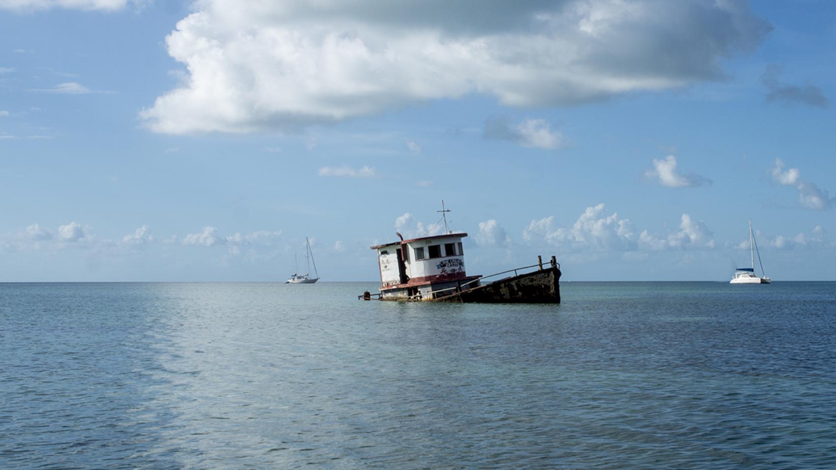 sunken boat at Cay Caulker, Belize