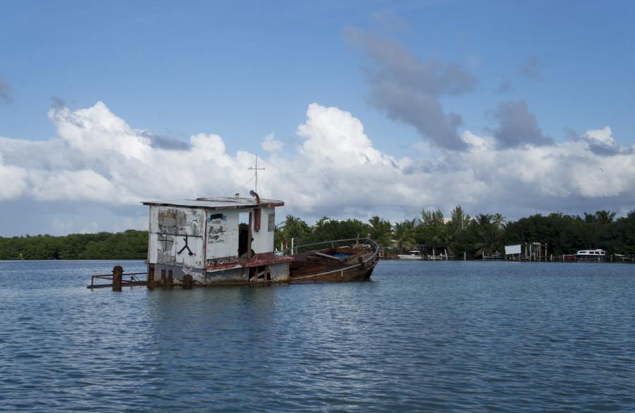 sunken ship at Cay Caulker, Belize