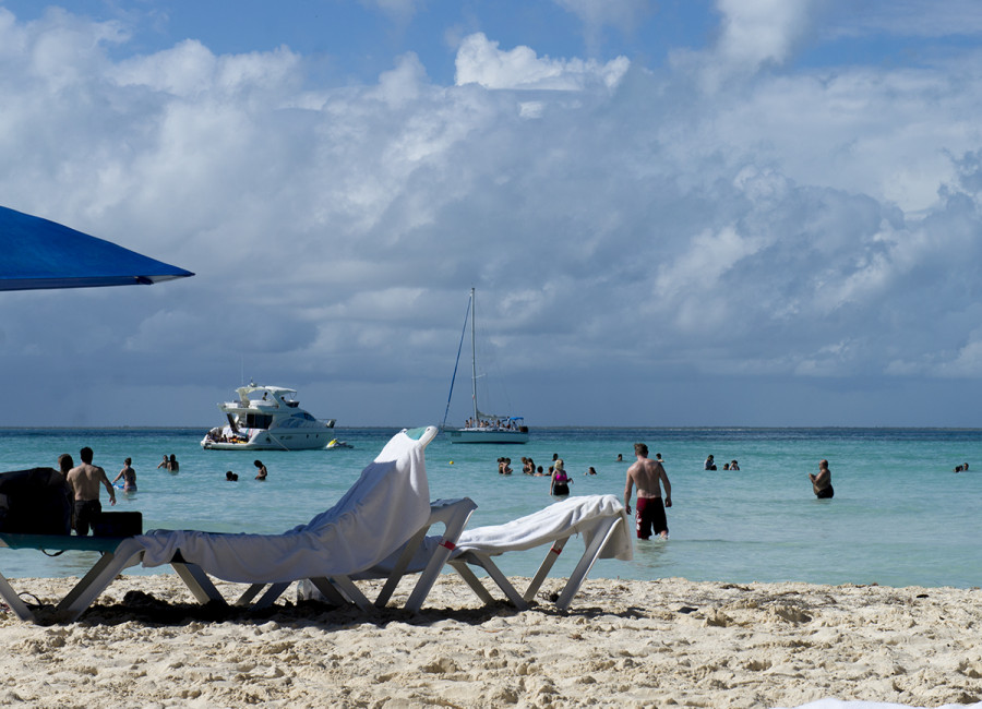 lounge chairs on Playa Norte, Isla Mujeres