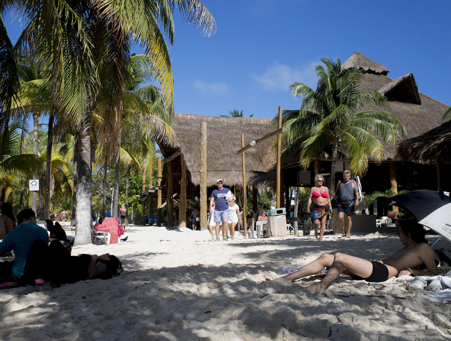 laying out at Playa Norte, Isla Mujeres