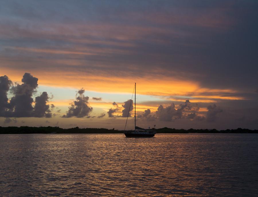 boat anchored in Isla Mujeres harbor