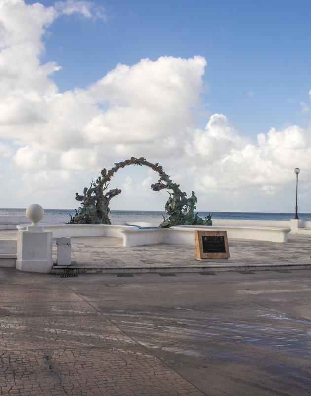 statue on boardwalk, Cozumel, Mexico