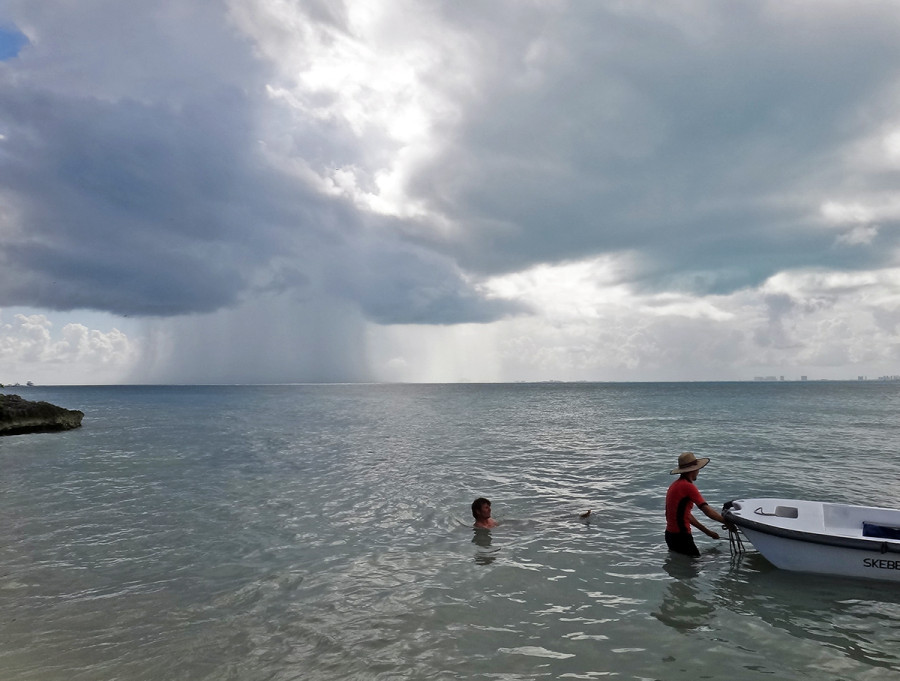 rain showers off Isla Mujeres