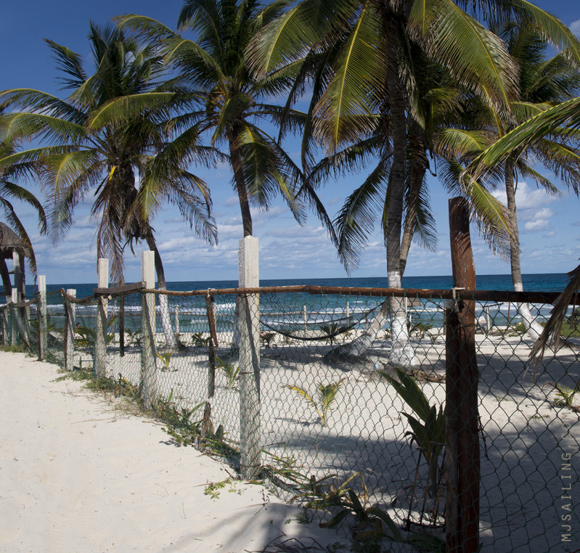 fenced in beach Isla Mujeres