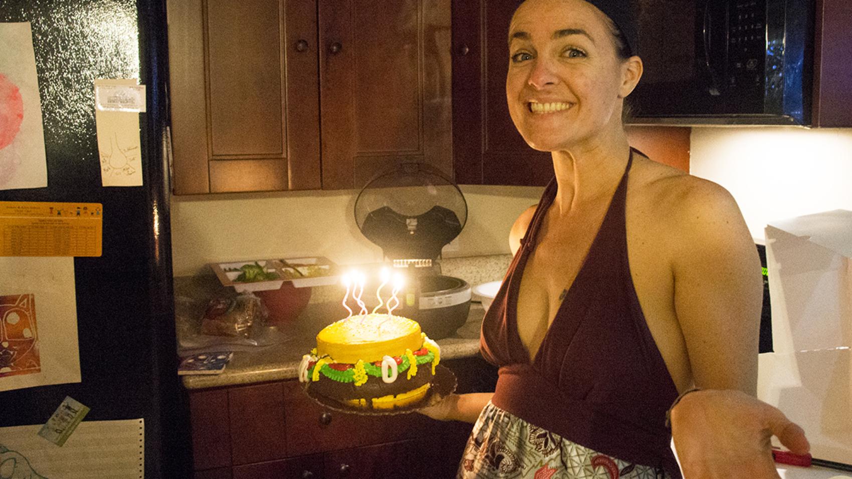 Jessica with cheeseburger cake