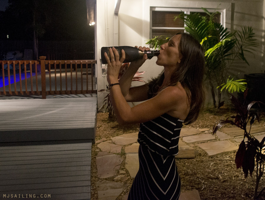Melody drinking champagne