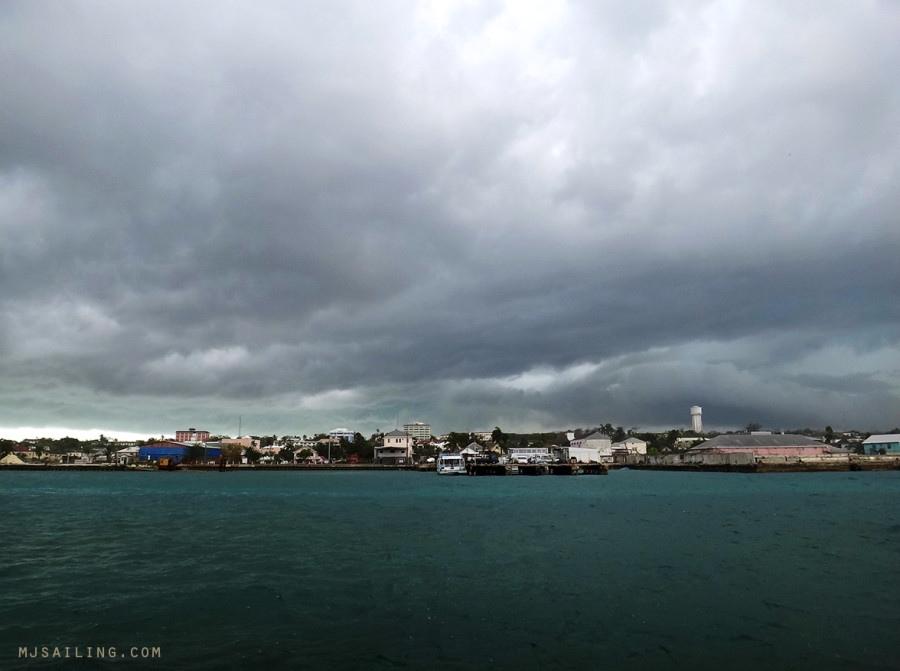 storm clouds over Nassau