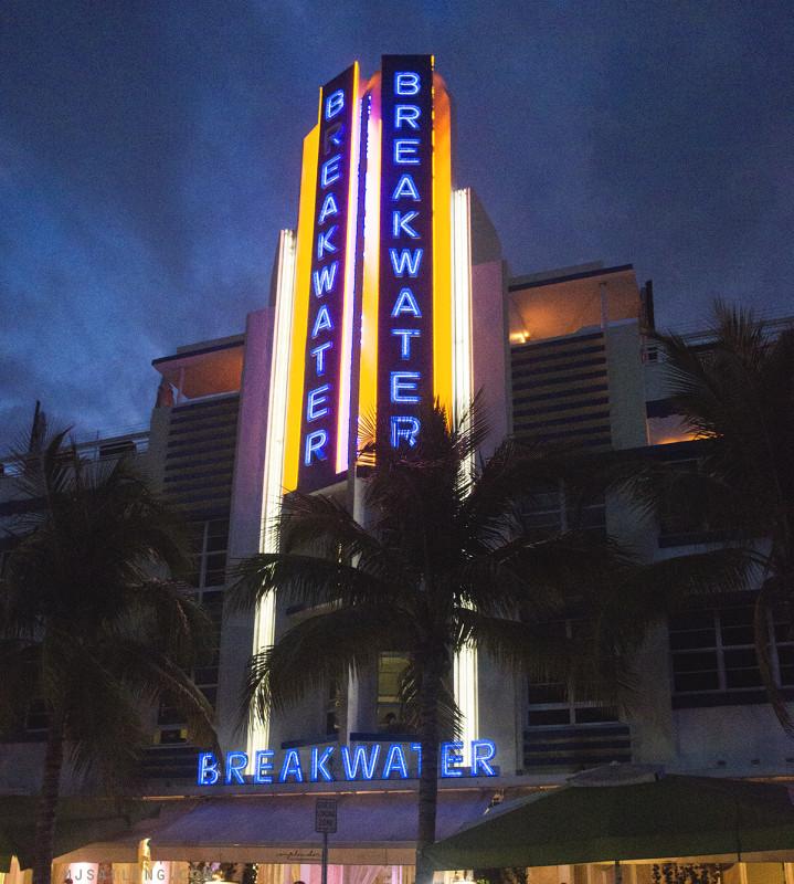 South Beach at night - Breakwater