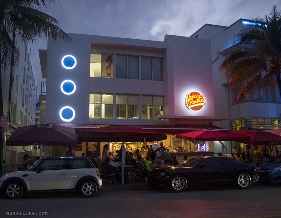 South Beach at night - Johnny Rockets
