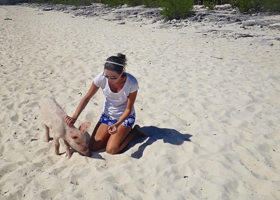 Jessica with piglet at Big Majors