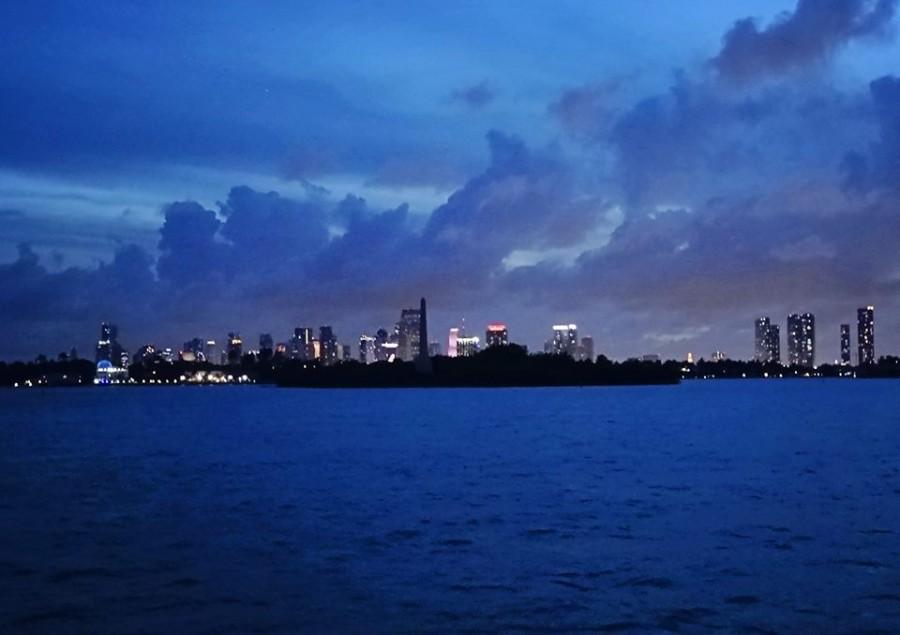Monument Island at night
