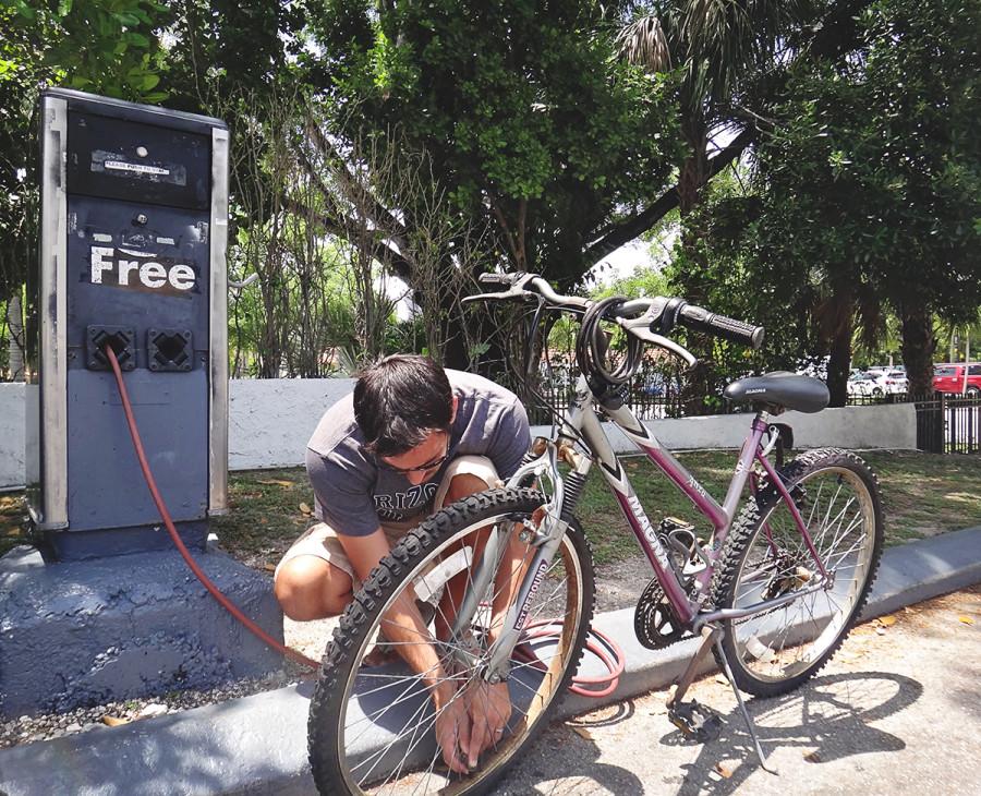 Matt filling bike tires