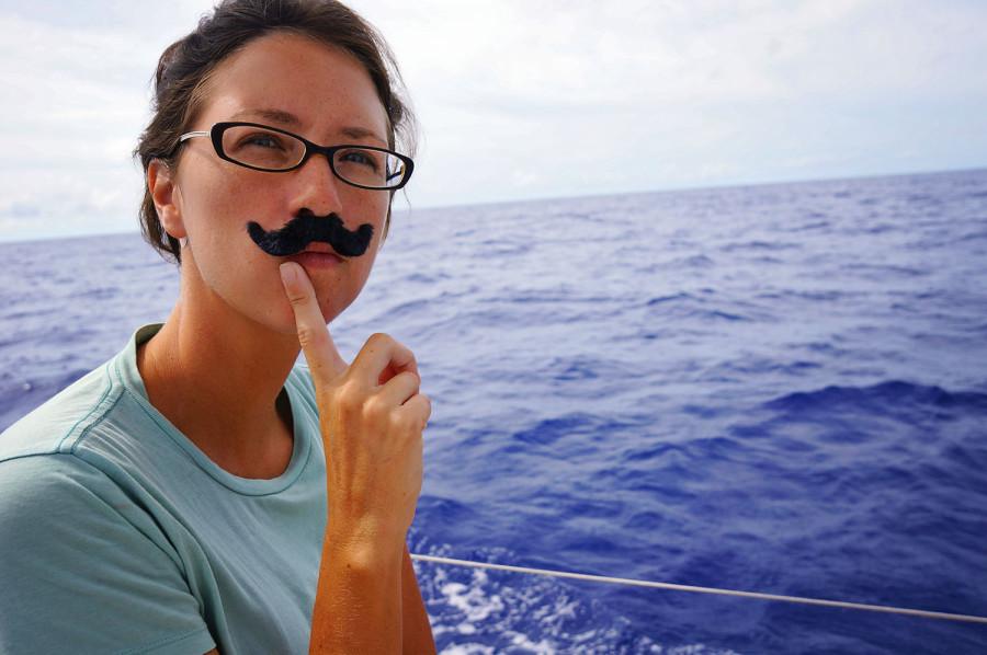 Jessica with fake mustache