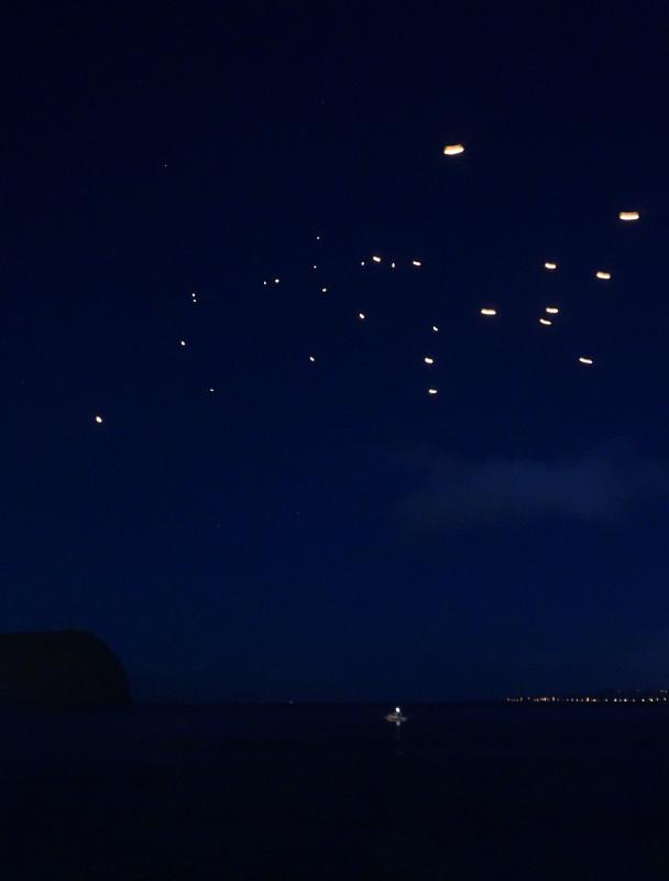fire lanterns over Horta's harbor