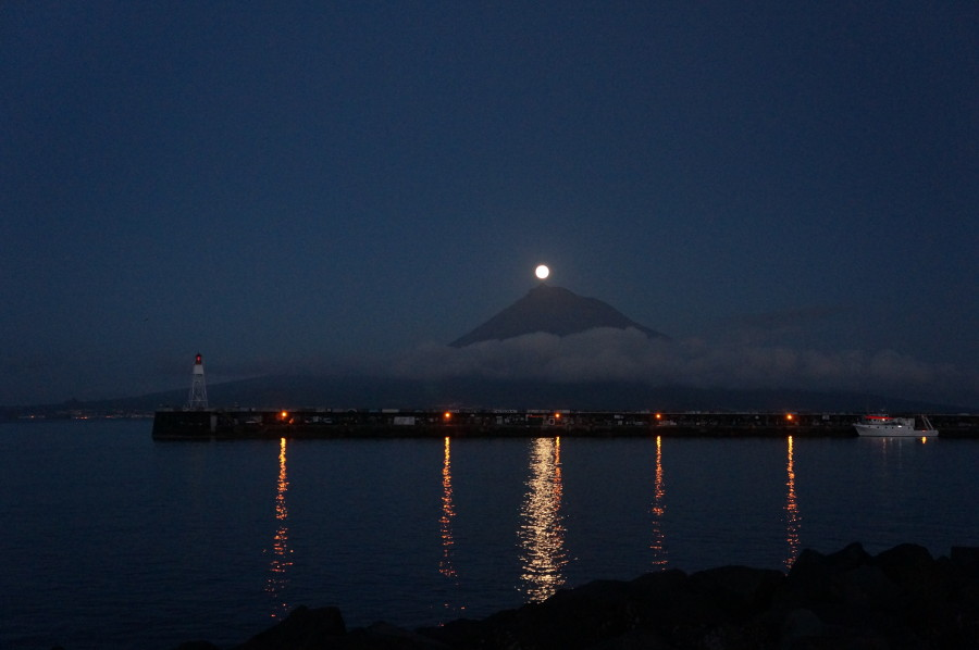 moon rising over Pico, Azores