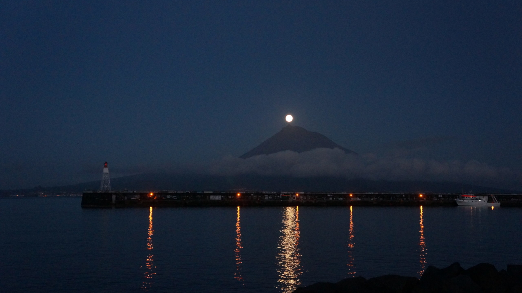 moon rising over Pico, Azores