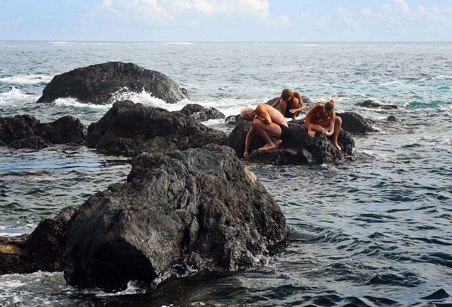 family at natural pools, Faial, Azores