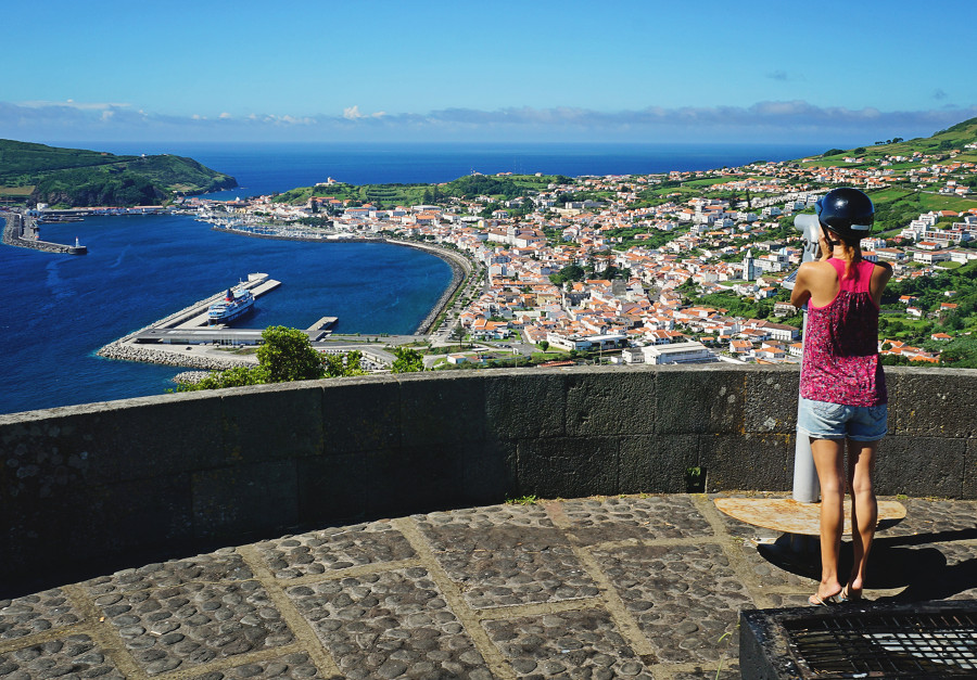 scenic overlook to Horta, Azores