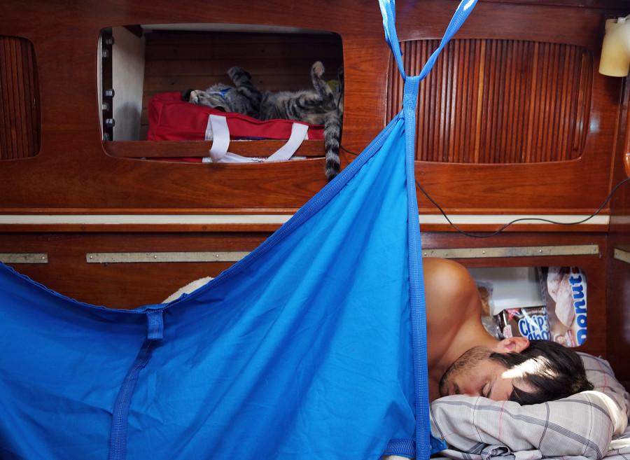 Matt & Georgie sleeping on passage