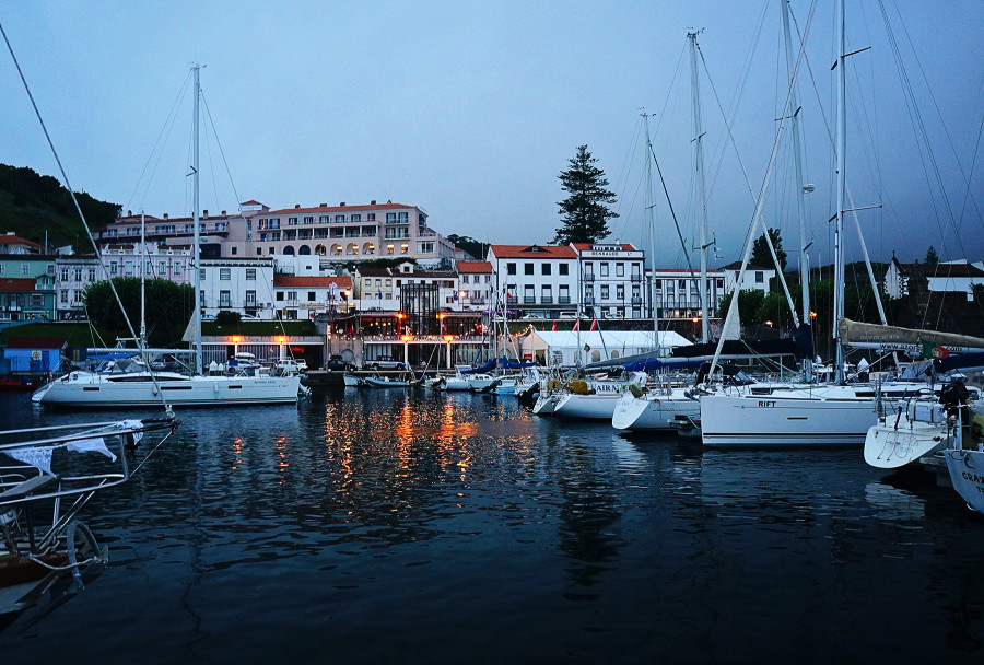 Horta harbor at dusk, Azores