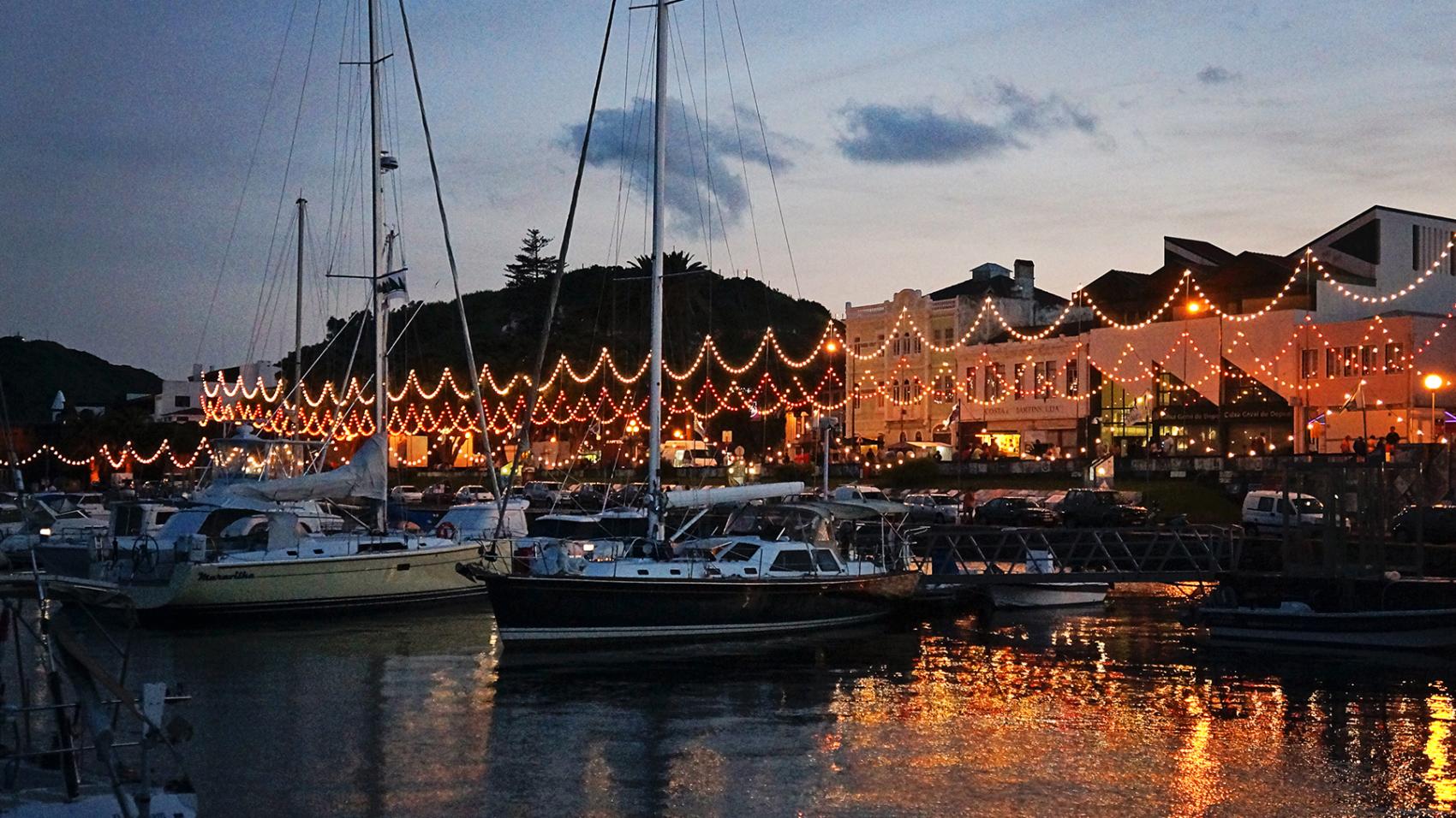 Horta's marina at dusk