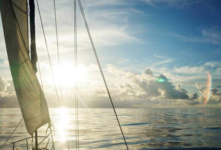 sunset while sailing