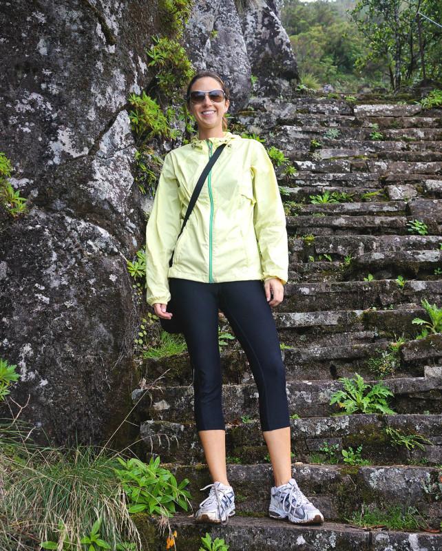 Jessica on stairs of Pico Ruivo hike, Madeira