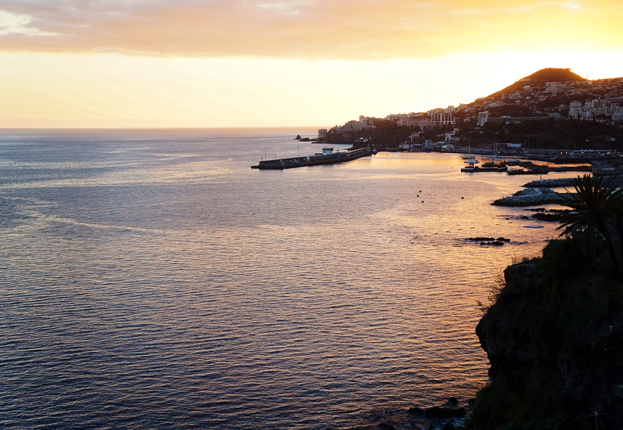 Funchal harbor at sunset