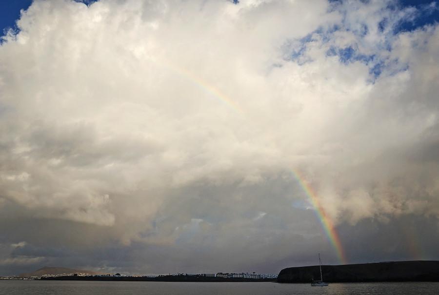 rainbow over Playa Papagaya, Lanzarote