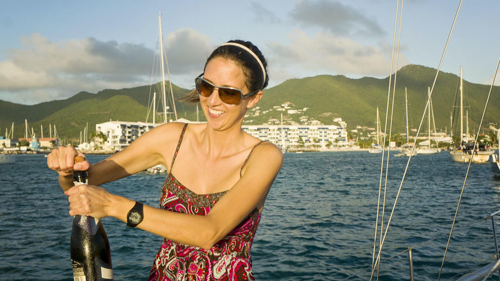 champagne celebration at Sint Maarten