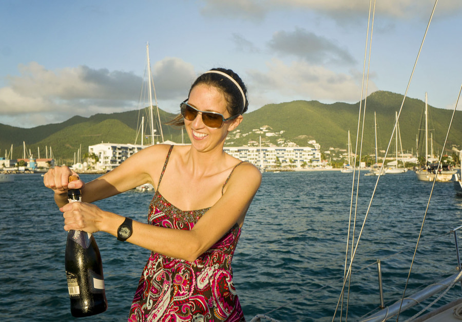 champagne celebration at Sint Maarten