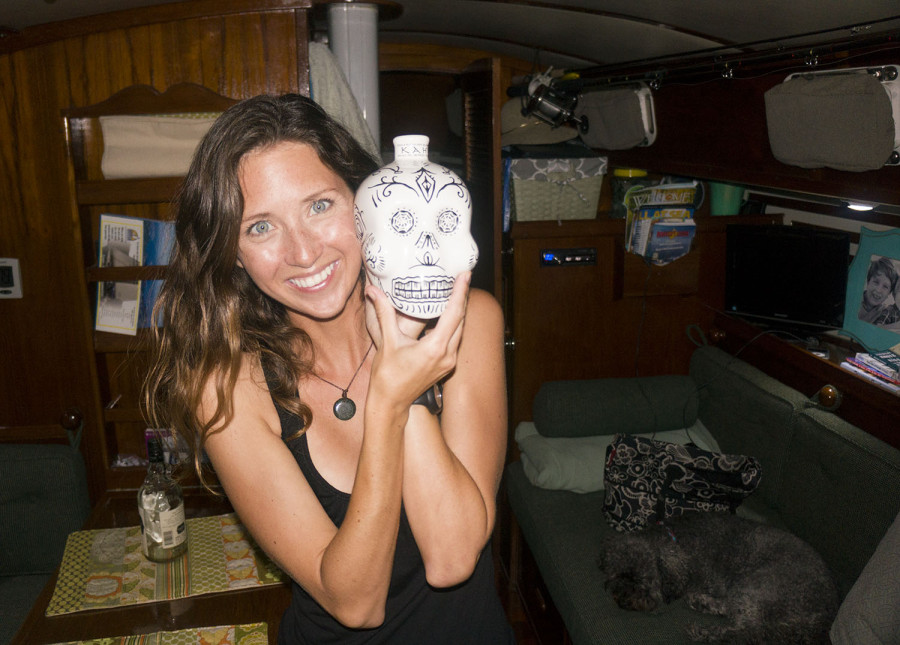 Jessica & tequila bottle