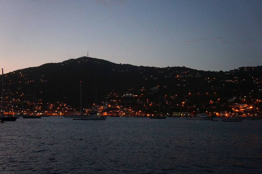 Charlotte Amalie harbor at night