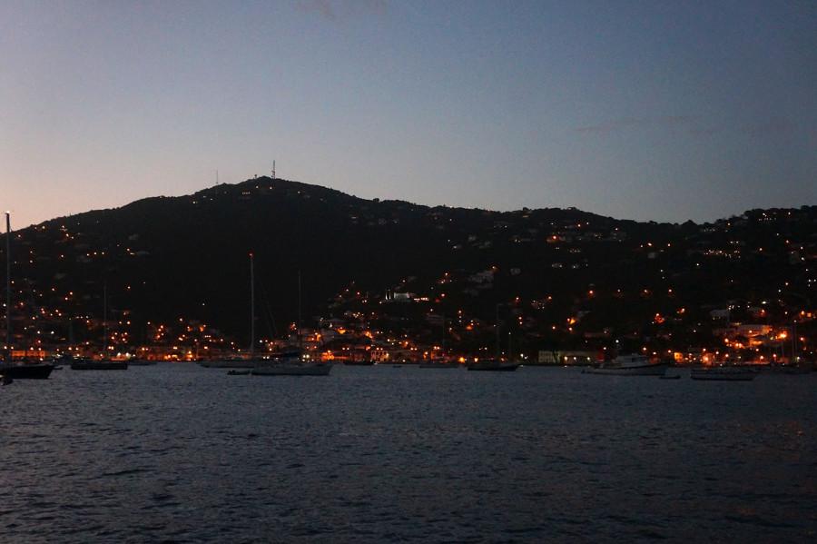 Charlotte Amalie harbor at night