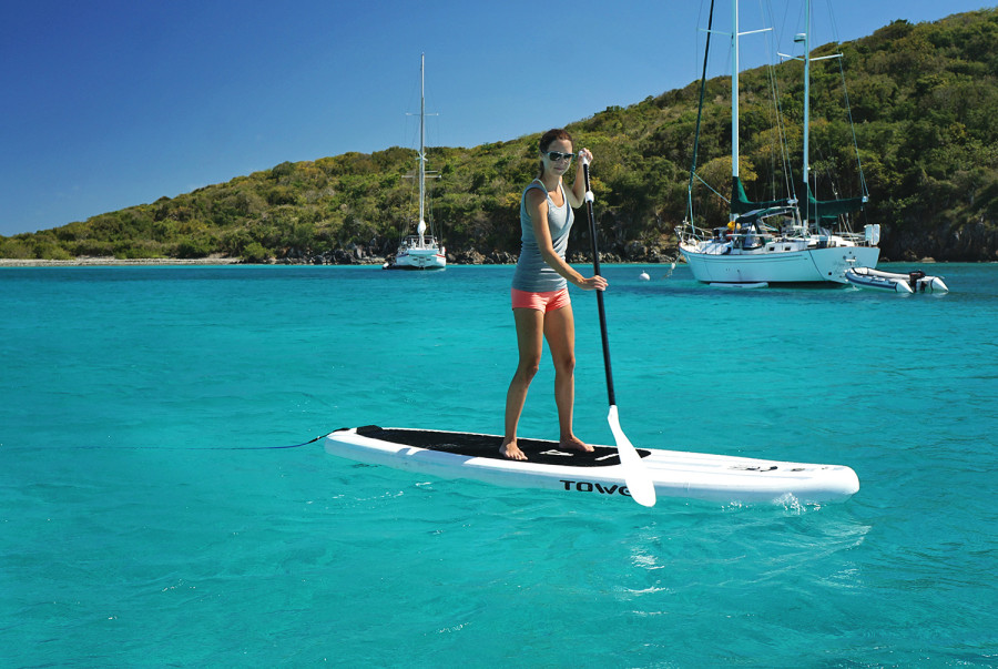 Jessica paddleboarding in Christmas Cove