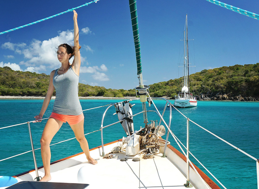 yoga onboard warrior pose