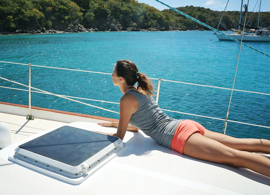 yoga onboard sphinx pose