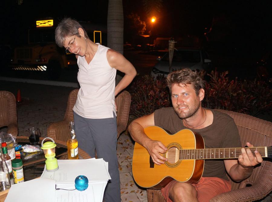 Captain Ben on the guitar