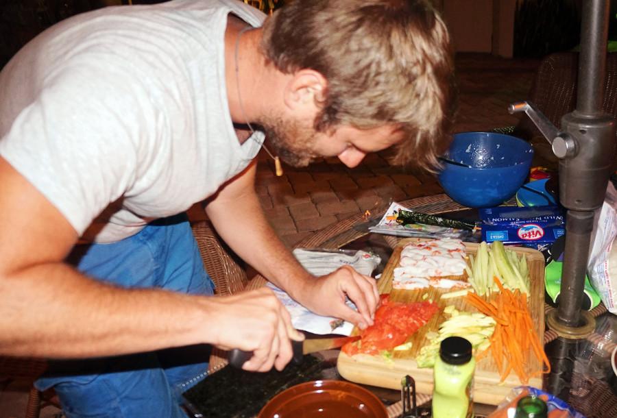 Ben making sushi