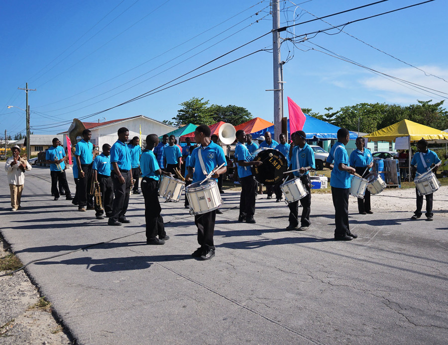 High School marching band in West End
