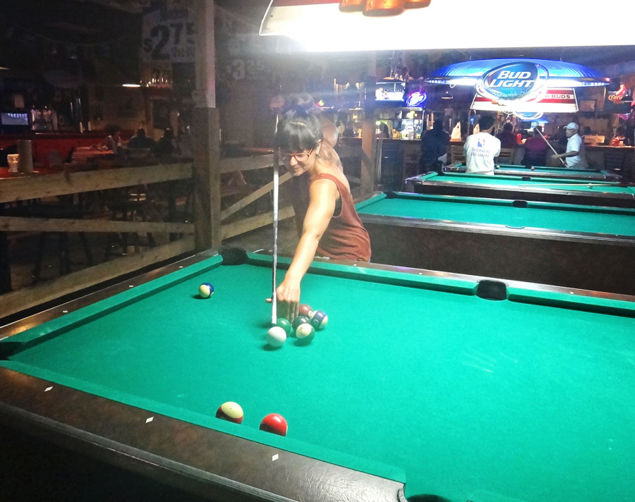 Simone playing pool