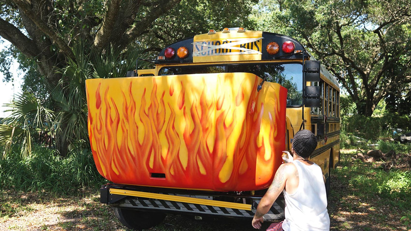 Jack paints the bus