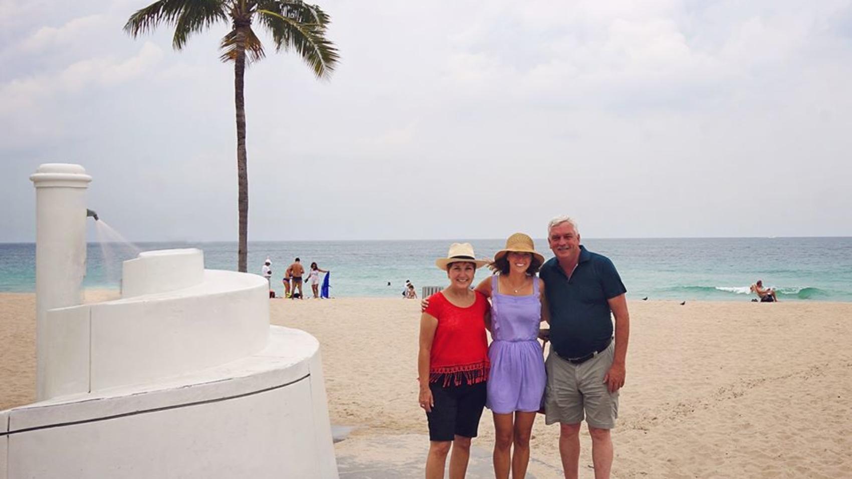 with parents at Las Olas Beach